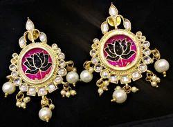 Shourya Exports Multicolor Chandbali Dangle Earrings, Size: 2 Inch