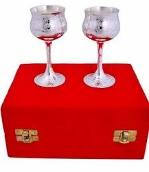 Silver Plated Wine Glass Set For Royal Wedding Gift