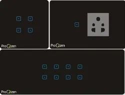 5-15A Black Touch Panel Switches, Switch Size: 2 Module, 230-250V