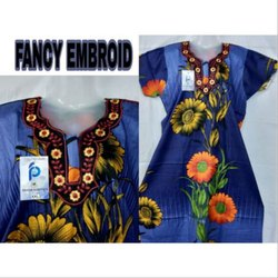 Multicolor Stitched Ladies Short Sleeve Nighty, Packaging Type: Packet