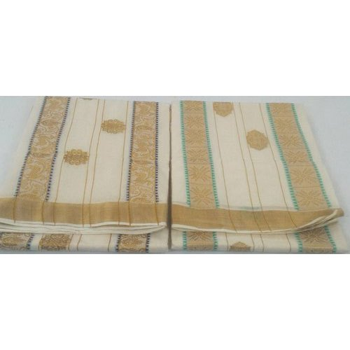 Party Wear Base White Zari Border Kerala Cotton Saree, Packaging Type: Box, 6.3 m (with blouse piece)