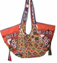 Authentic Vintage Banjara Bag Tribal Zari Handwork Indian Tote Embroidery Women Purse Pom Pom Mirror