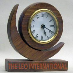 Moon shape table top decorative Wooden Clock