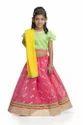 Festive Wear Kids Chanderi Lehenga With Net Sleeves Choli