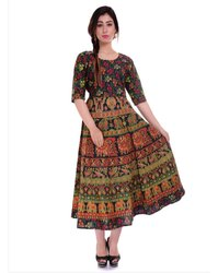 3/4th Sleeves Ladies Jaipuri Frock