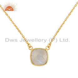 Yellow Gold Plated Silver Rainbow Moonstone Chain Pendant Jewelry