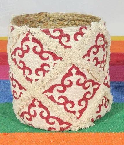 Printed Cotton Jute Basket