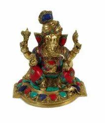 Capsto Ganesh Multicolor Brass Idol