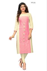 Flax Cotton Plain Embroidered Kurti