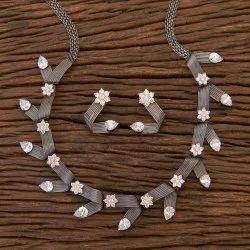 White Black Rose Plated Designer Trendy Necklace 409324, Size: Regular