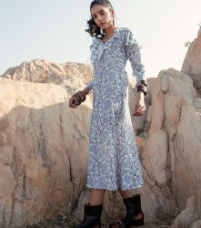 Bluence Printed Long Cotton Dress