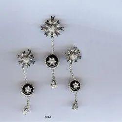 Real White Gold Fine Diamond Victorian Set