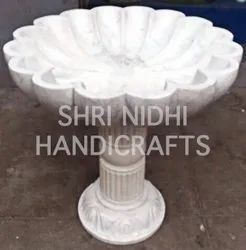 White Marble Flower Urli With Stand