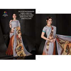 Rachna Linen Silk Digital Printed Portrait Again Catalog Saree For Women 8