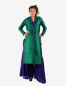 Dark Green Detailed Neck Long Kurti