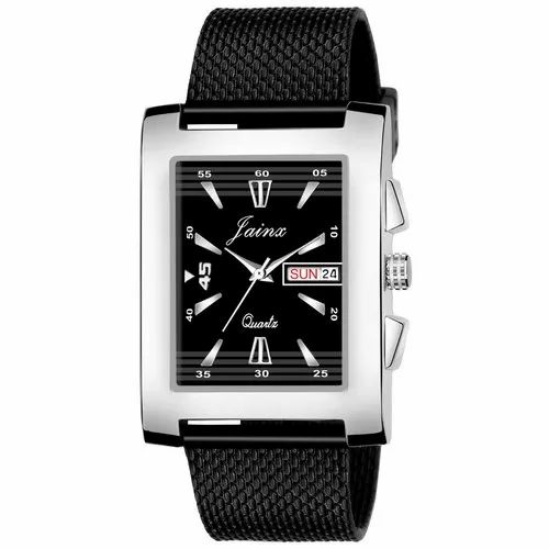 Jainx Square Black Mesh Band Day and Date Functioning Analog Watch for Men's - JM359