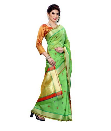 4d56c09ee2588e MIMOSA Butta Thread Work Cotton Saree And Contrast Blouse In Color Green ( 3148-rz