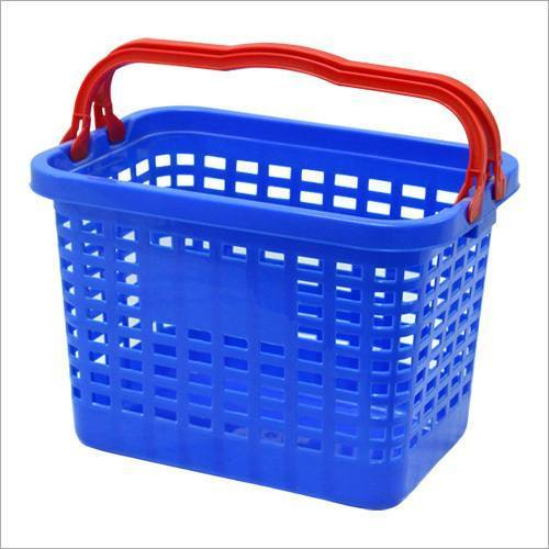 Blue / Red Hybrid Shopping Basket, Size: H 12'  X W 17'  X D 12'