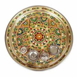 Golden Heart Designed Stainless Steel Meenakari Puja Thali