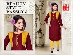 Formal Rayon 3/4th Sleeves Kurti with Koti