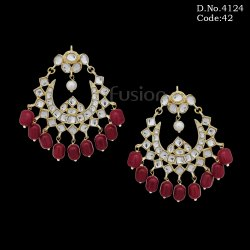 Traditional Ruby Kundan Chandbali Earring