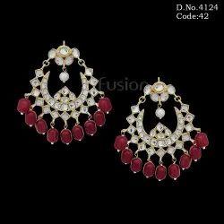 Fusion Brass Traditional Ruby Kundan Chandbali Earring