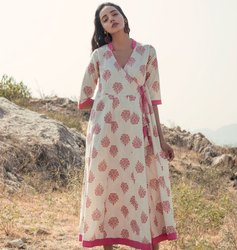 Shrub Angrakha Cotton  Pink Tunic