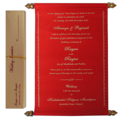 Big Size Red Color Scroll Wedding Card