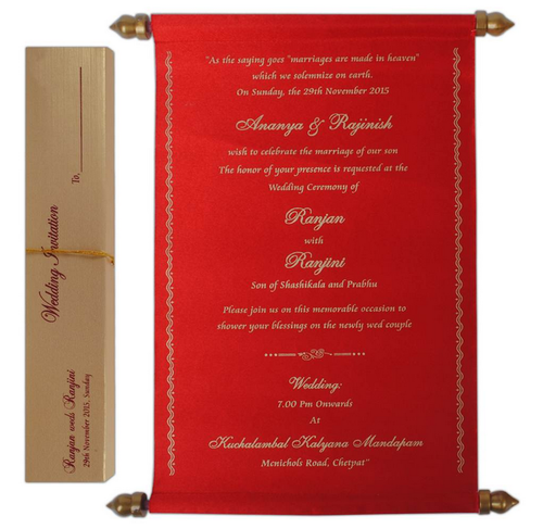 Red Big Size Color Scroll Wedding Card