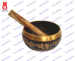 Nepali Singing Bowl Carved Black Patina