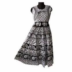 Flared Printed Cotton Midi Dress, Size: Free size upto 2xl