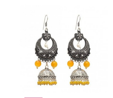 Metal Br With Good Quality Oxidised Silver Plating Yellow Color Pearl Earrings
