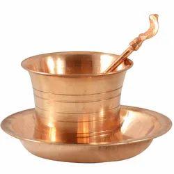 Copper Panchapatra And Pali