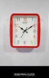 Orange Priya Quartz Wall Clock, Size: 287 x 260 x 48 ,Packaging Type: Box