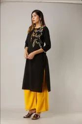 Unique Design Hand Embroidered Work  Black Color Kurti With Yellow Color Palazzo Set