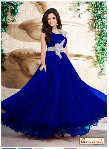 7cb7462544bd Ladies Blue Satin Stone Work Designer Gown - Bridal