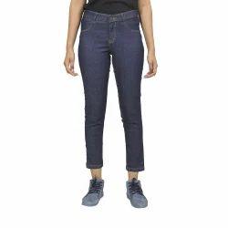 Ladies Blue Plain Casual Wear Jegging