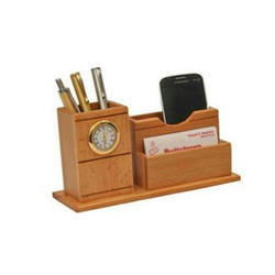 Wooden Pen Stand With Clock And Card Holder, For Office,Gifts, Size/Dimension: 4 X 2.5 X 3 Inch (w X L X H)