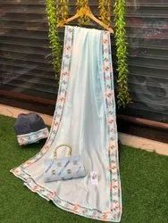 Casual Wear Border Reeva Impex - Handloom Linen Saree, With blouse piece, 6.30