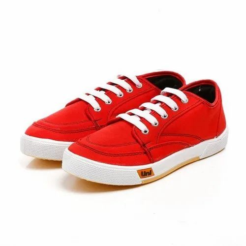 Unistar Casual Mens Red Lace Up Canvas