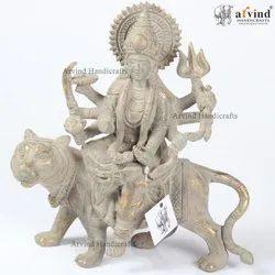 Brass Goddess Durga Statue, Size/Dimension: 9