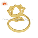 New Womens Gold Plated Silver Lotus Design Ring Jewelry