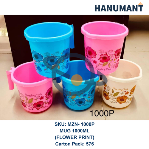 Plastic Mug 1000ML Flower Printed