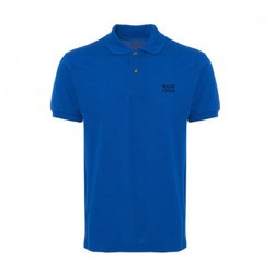 Blue Plain Cotton T-Shirt, Size: Large