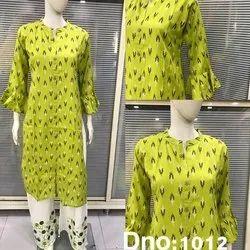 Cotton Straight Party Wear Designer Printed Kurti, Handwash, Size: S-XXL