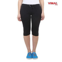 Black Plain Women Capri