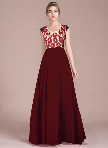 53e37eb2e172 Plain Taffeta Silk Exclusive Designer Maroon Long Dress