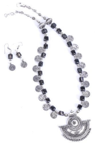 7dc0ad79c Handcrafted Square Black Onyx German SIlver Neckpiece Set/jewellery Set