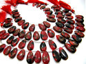 Red Oyster Copper Turquoise Pear Shape  Beads