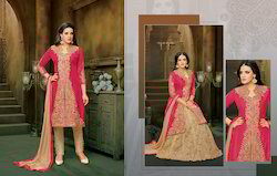 Semi Stitched Pink Suit Paired with Beige Colored Bottom